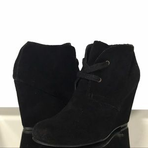 Dolce Vita Black Wedge Lace Up Ankle Boots